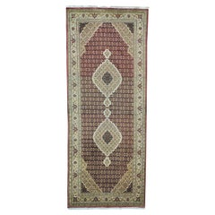 Tabriz Mahi Gallery Size Wool and Silk Hand Knotted Rug