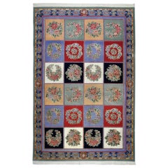 Tabriz Rug Wool Hand Knotted Flowers Pattern