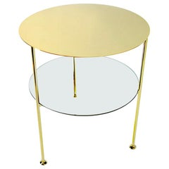 In Stock in Los Angeles, Tabu Round Gold and Brass Coffee Table, Made in Italy
