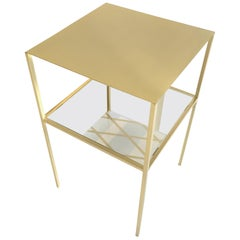 In Stock in Los Angeles, Tabu Square Gold and Brass Coffee Table, Made in Italy