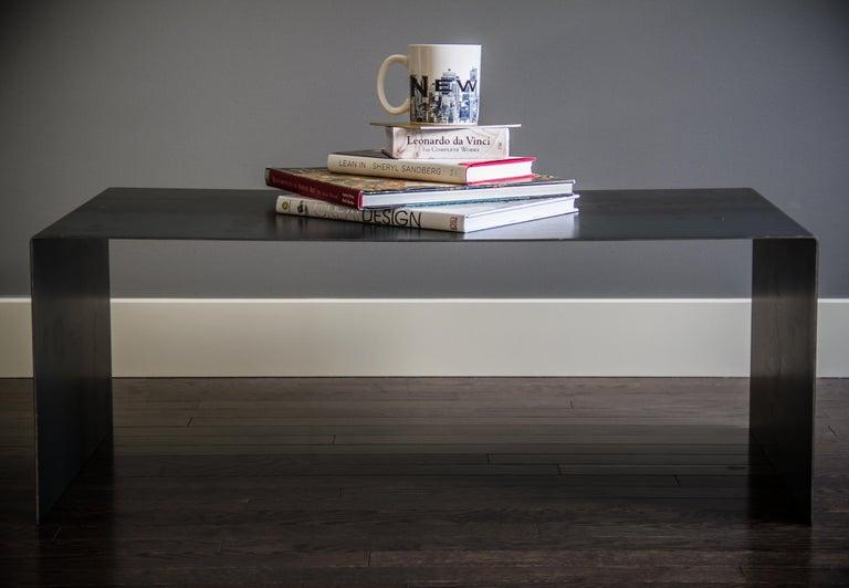 Minimalist Tabula Rasa Coffee Table in Raw Black Steel by Mtharu For Sale