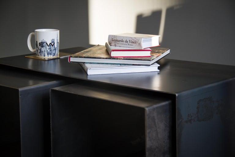 Tabula Rasa Coffee Table in Raw Black Steel by Mtharu In New Condition For Sale In Calgary, Alberta