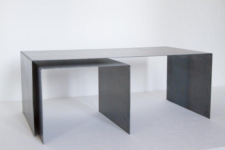Contemporary Tabula Rasa Coffee Table in Raw Black Steel by Mtharu For Sale