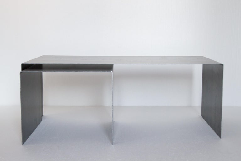 Tabula Rasa Coffee Table Nesting Style in Raw Black Steel by Mtharu In New Condition For Sale In Calgary, Alberta