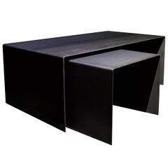 Tabula Rasa Coffee Table Nesting Style in Raw Black Steel by Mtharu