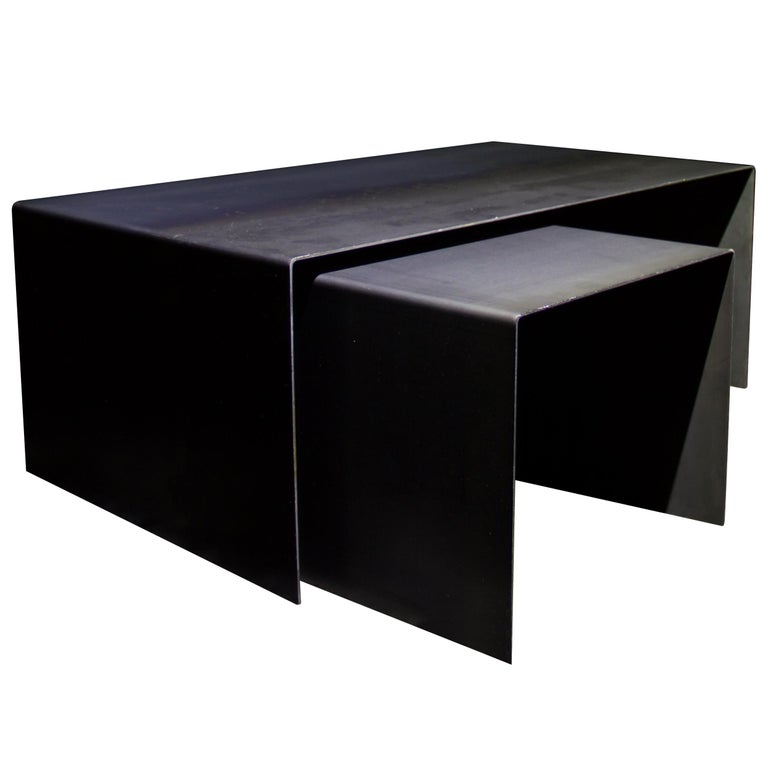 Tabula Rasa Coffee Table Nesting Style in Raw Black Steel by Mtharu For Sale