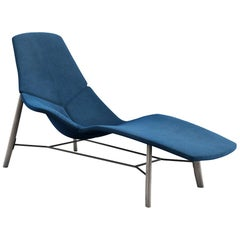 Tacchini Atoll Chaise Longue in Blue Delphinum Fabric by Patrick Norguet