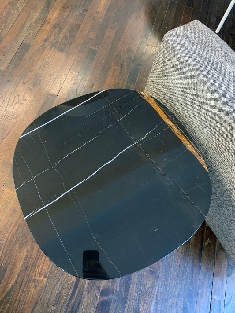 Italian Tacchini Black Marble Soap Side Table For Sale