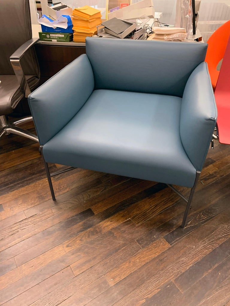 Leather Tacchini Chill Out Blue Armchair by Gordon Guillaumier For Sale
