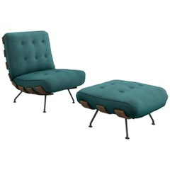 Tacchini Costela Chair with Ottoman in Green Bryony Fabric by Martin Eisler