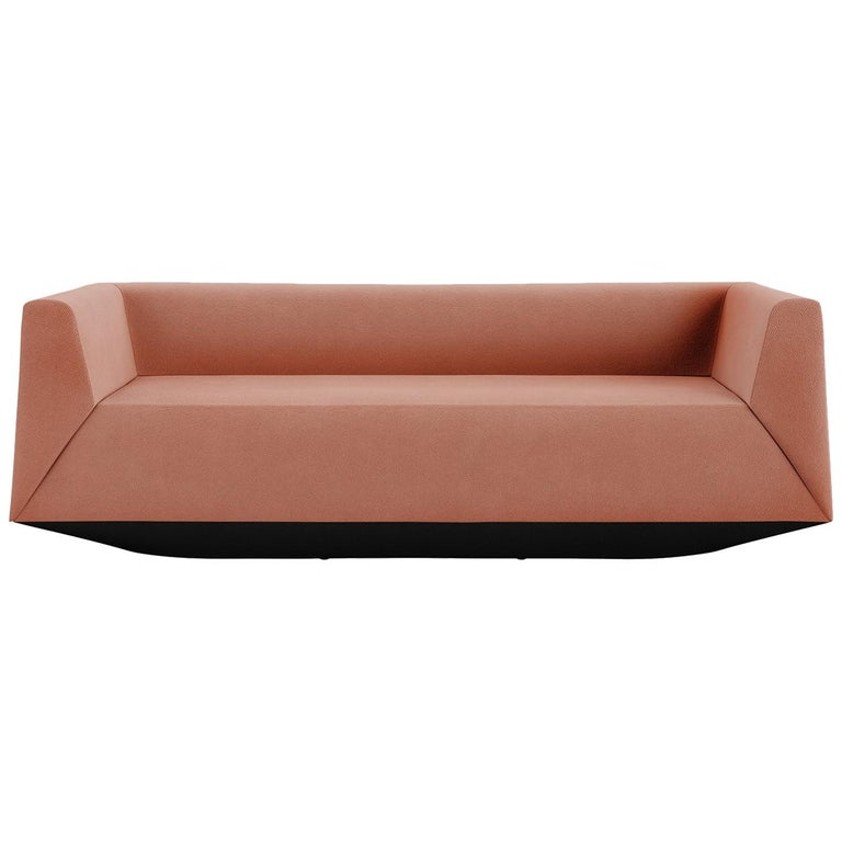 Tacchini Crystal Three-Seater Sofa in Pink Bopha Fabric by PearsonLloyd For Sale