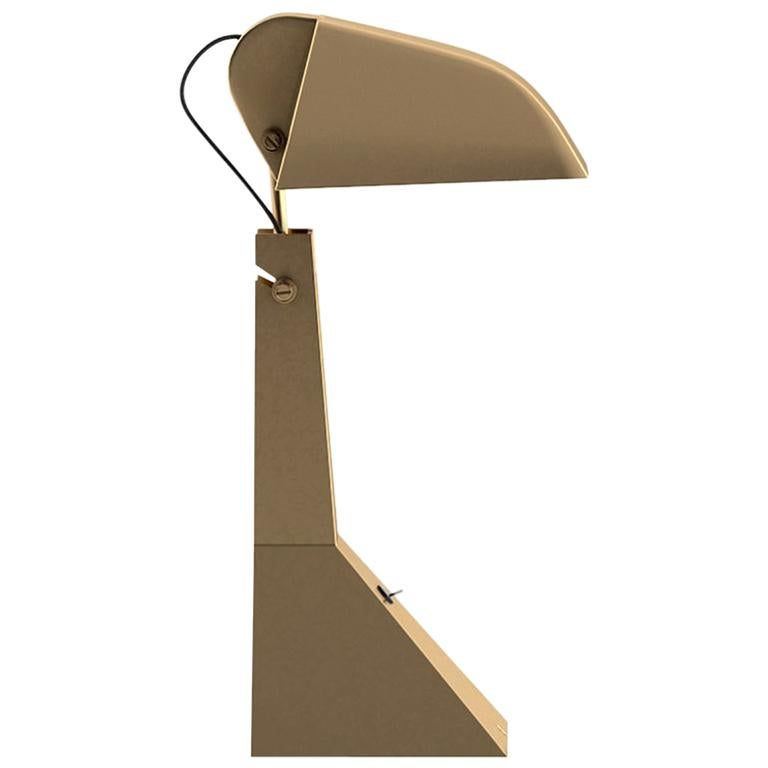 Tacchini E63 LED Table Lamp in Matte Champagne Gold Structure by Umberto Riva