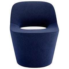 Tacchini Eddy Round Chair with Swivel Base in Blue Early Fabric by PearsonLloyd