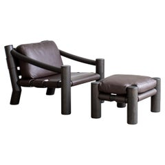 Tacchini Elephant Leather Lounge Chair & Ottoman Designed by Karen Chekerdijan