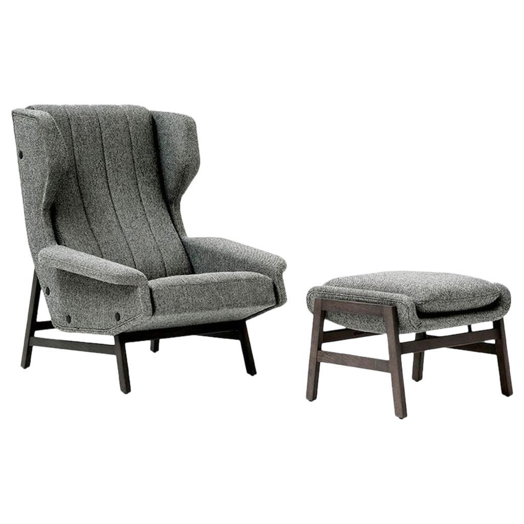 Tacchini Giulia Lounge Armchair with Ottoman Designed by Gianfranco Frattini