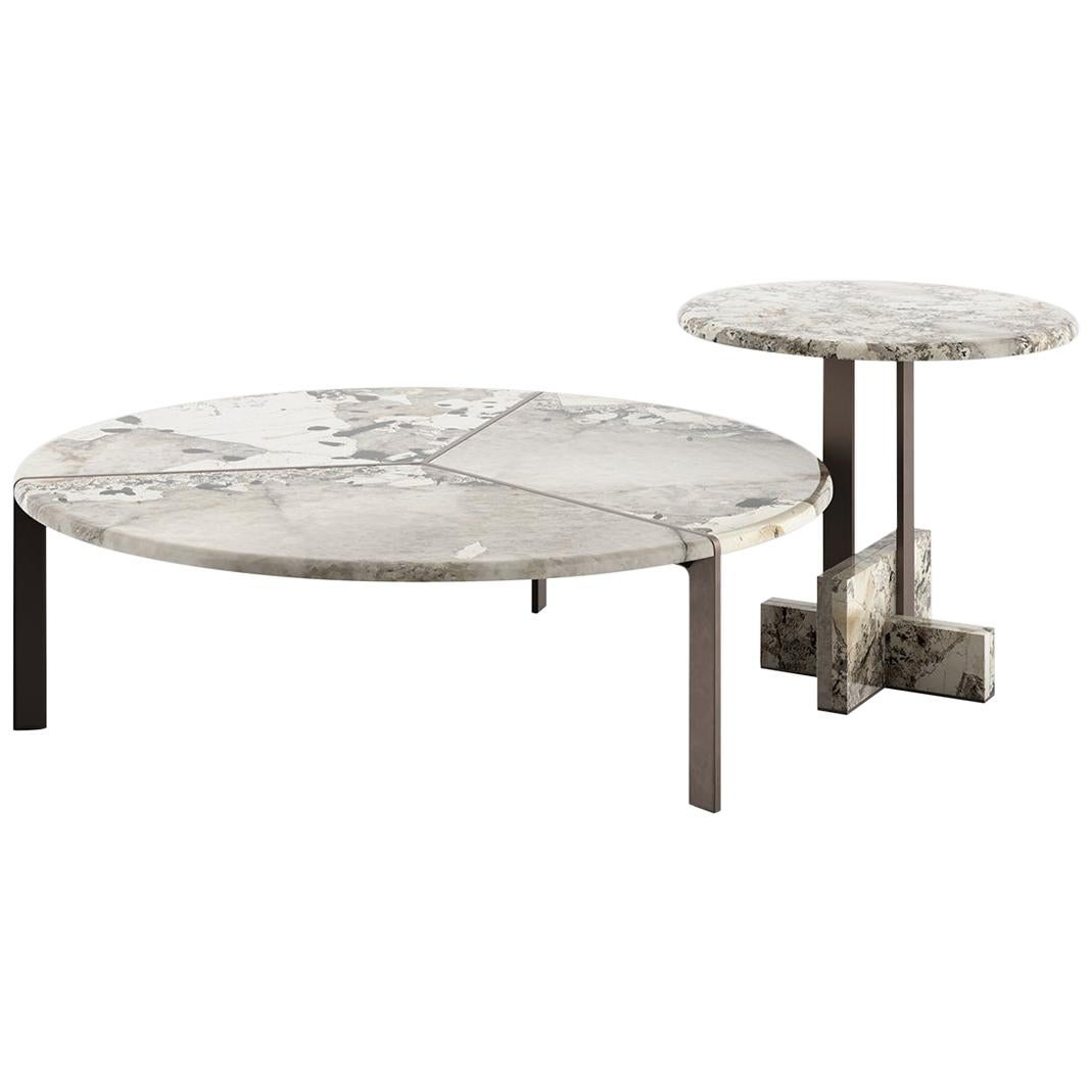 Tacchini Joaquim Large Coffee Table in Patagonia Marble Top by Giorgio Bonaguro