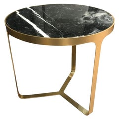 Tacchini Marble Side Table with Gold Frame Designed By Gordon Guillaumier