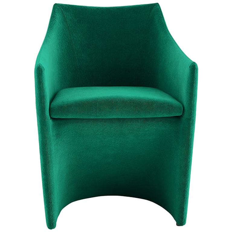 Tacchini Mayfair Armchair Chair in Emerald Green Fabric by Christophe Pillet