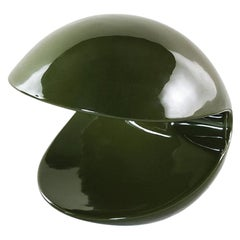 Tacchini Miss Pack Table Lamp in Olive Green Glazed Ceramic by Alvino Bagni