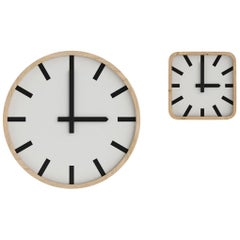 Tacchini Mod Wall Round Clock in Dark Walnut Frame by Think Work Observe
