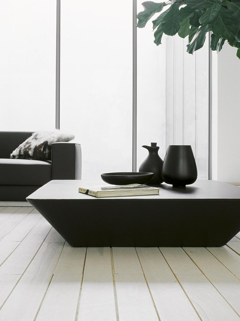 Tacchini Nara Leather Coffee Table Designed by Lievore Altherr Molina In New Condition For Sale In New York, NY