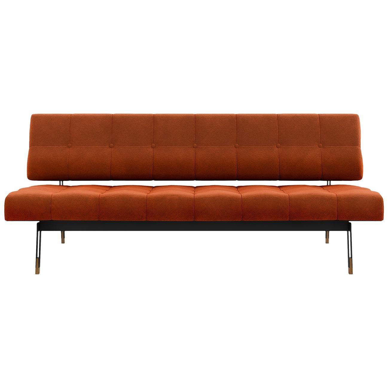 Tacchini Oliver Sofa in Orange Bryony Fabric by Gianfranco Frattini