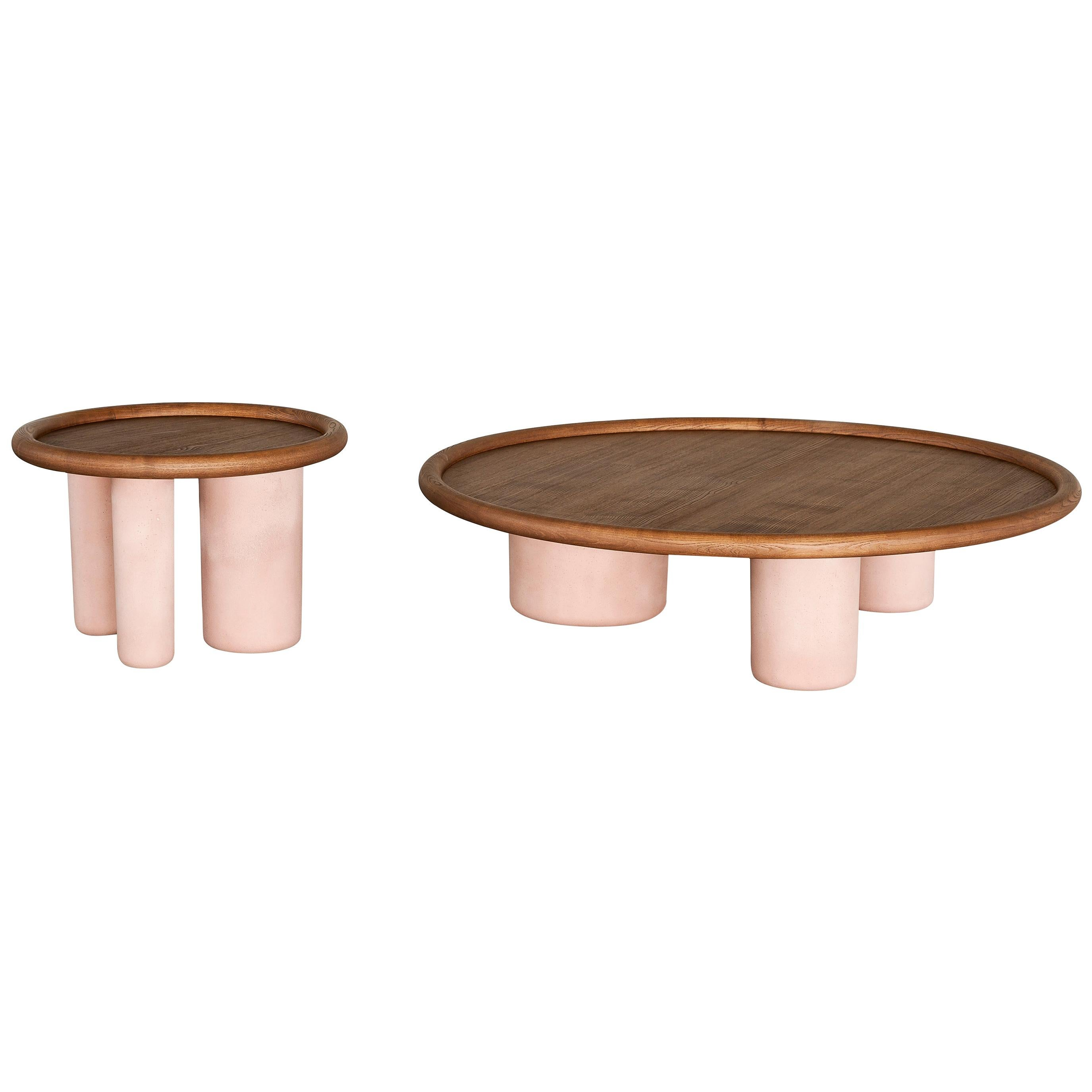 Tacchini Pluto Small Low Table In Pink Cement with Walnut Top by Studiopepe