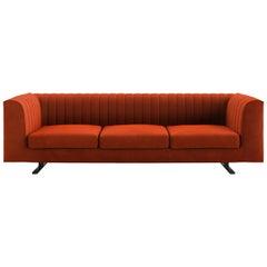 Tacchini Quilt Three-Seater Sofa in Orange Bopha Fabric by Pearson Lloyd