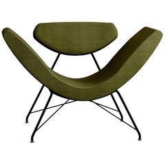 Tacchini Reversivel Armchair in Olive Green Fabric with Base by Martin Eisler