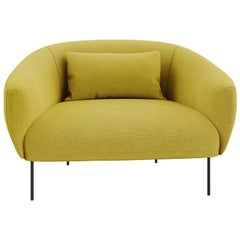 Tacchini Roma Armchair in Yellow Bryony Fabric with Metal Base by Jonas Wagell