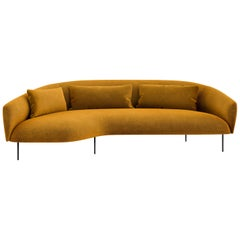 Tacchini Roma Three-Seater Chaise-Longue Sofa in Orange Fabric by Jonas Wagell