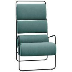 Tacchini Sancarlo Armchair in Green Fabric and Metal Base by Achille Castiglioni