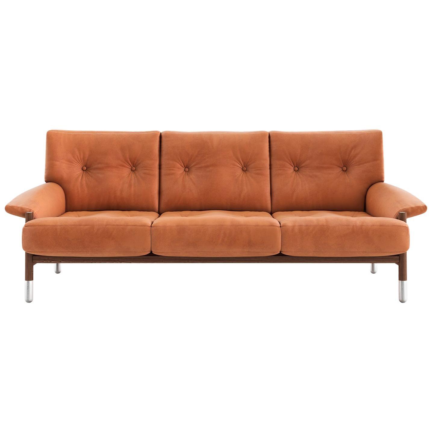 Tacchini Sella Three-Seater Sofa in Canaletto Walnut Base by Carlo De Carli