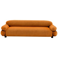 Tacchini Sesann Three-Seater Sofa in Orange Fabric by Gianfranco Frattini