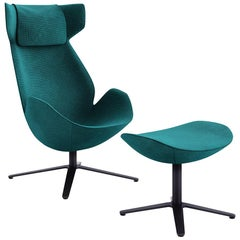 Tacchini Shelter Armchair and Ottoman in Green Fabric by Noé Duchaufour-Lawrance