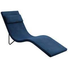 Tacchini Slalom Chaise Longue in Blue Erika Fabric by Pietro Arosio