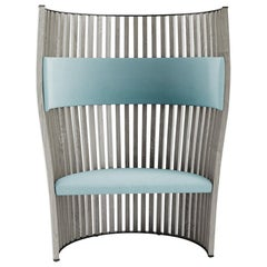 Tacchini SouthBeach Armchair in Blue Daiki Fabric and Wood by Christophe Pillet