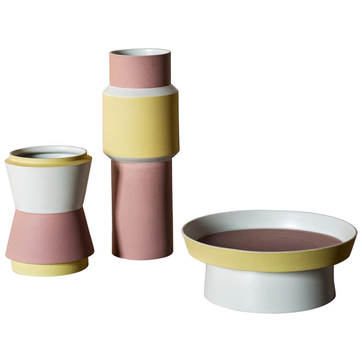 Tacchini Vasum Medium Yellow/Pink Vase in Porcelain by Maria Gabriella Zecca