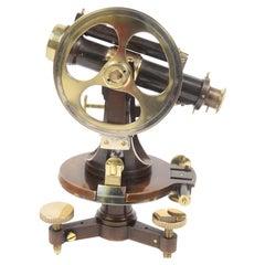 1860 Antique Surveyor's Brass Burnished Transit Tacheometer by C. Merli Milano