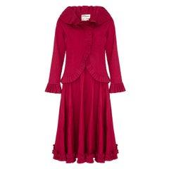 Tachi Castillo 1970s Deep Crimson Mexicana Blouse and Skirt Retailed at Mexicana