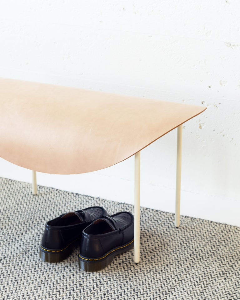 Bauhaus The Tack Bench, Calen Knauf, Black and Beige, Steel Leather  For Sale
