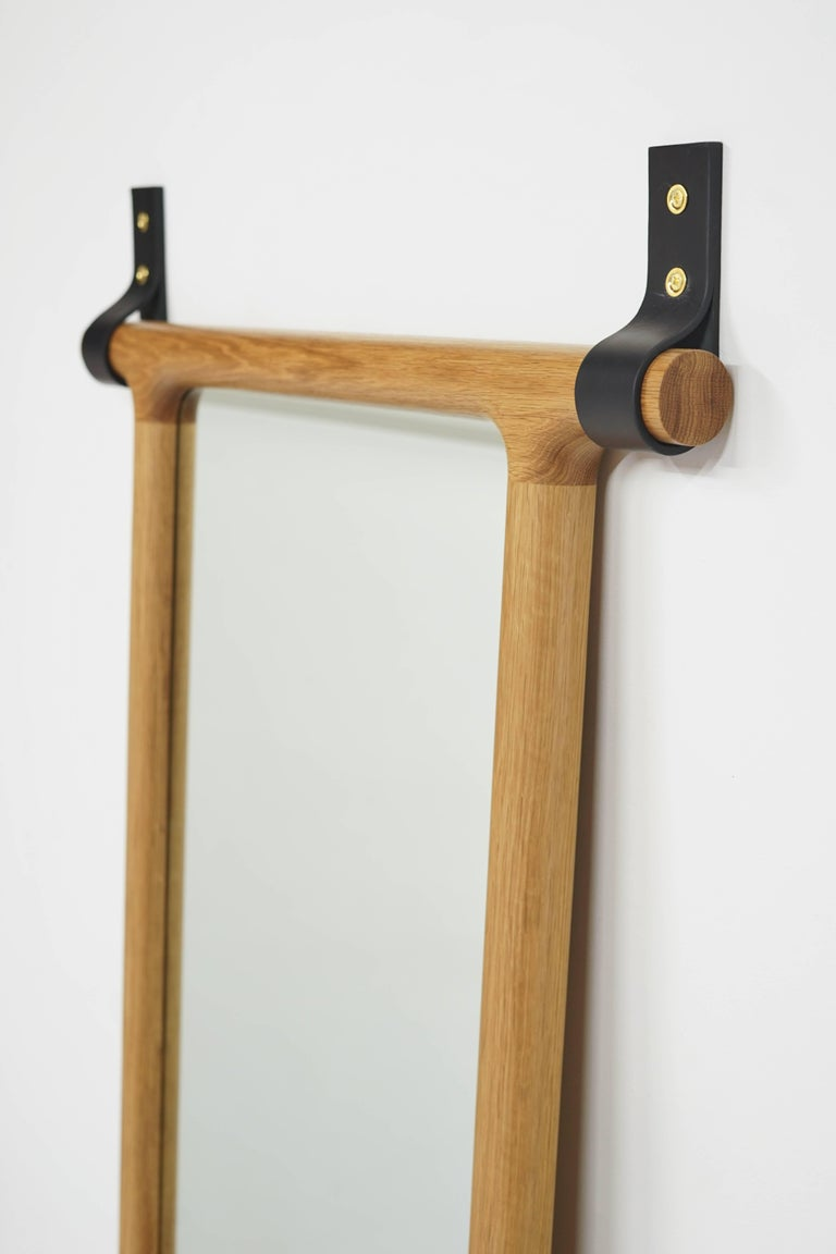 Modern Tack Floor Mirror in White Oak with Leather Straps For Sale