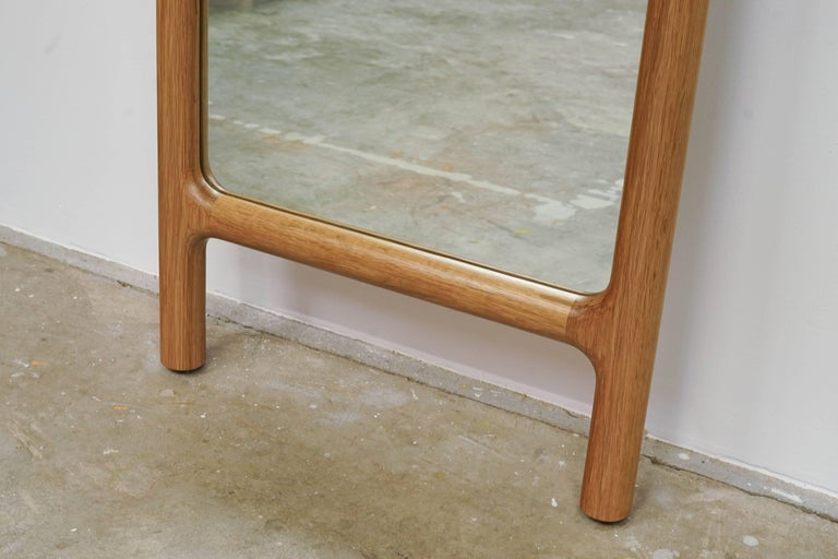 American Tack Floor Mirror in White Oak with Leather Straps For Sale