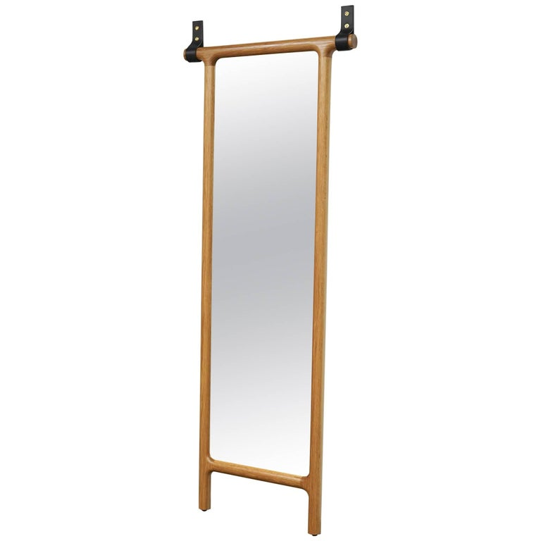 Tack Floor Mirror in White Oak with Leather Straps For Sale