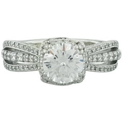 Tacori 1 Carat GIA Certified Round Diamond 18 Karat Gold Halo Engagement Ring