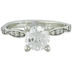 Tacori 1.00 Carat GIA Round Diamond in 18 Karat White Gold Engagement Ring