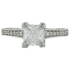 Tacori 1.00 Carat Princess Cut or Square Diamond 18 Karat White Gold Ring