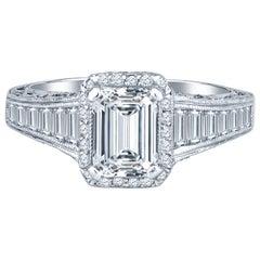 Tacori 1.01 Emerald Cut Ring with 1.35 Carat in Side Diamond, GIA Certified