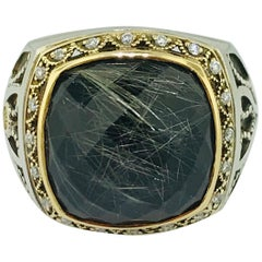 Tacori 11 carat Rutilated Quartz & Black Spinel .07 carat Diamond 18K Gold Ring