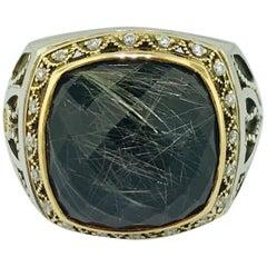 Tacori 11 carat Rutilated Quartz & Black Spinel .07 carat Diamond 18K Gold Ring